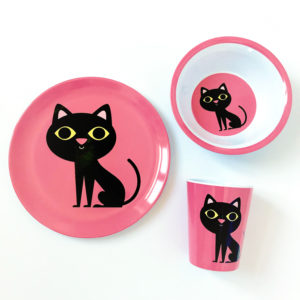OMM Design poes / cat set bord, beker & kom