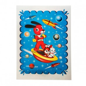 kitsch kitchen space dog poster