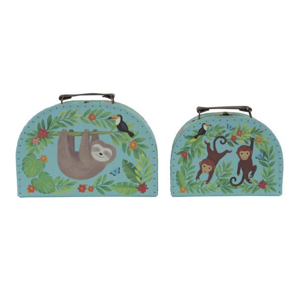 sass & belle middelgroot koffer aapjes (sloth)