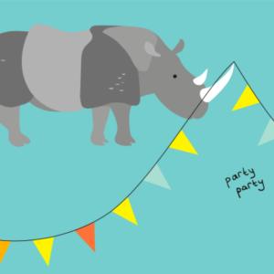 kaartje neushoorn party party