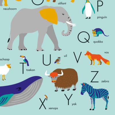 Poster dieren alfabet blauw alfabetposter 50x70