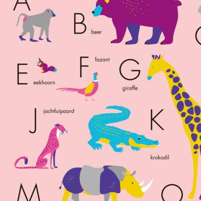 Poster dieren alfabet roze alfabetposter