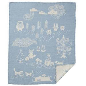 Klippan wiegdeken, babydeken geborsteld katoen little bear blauw