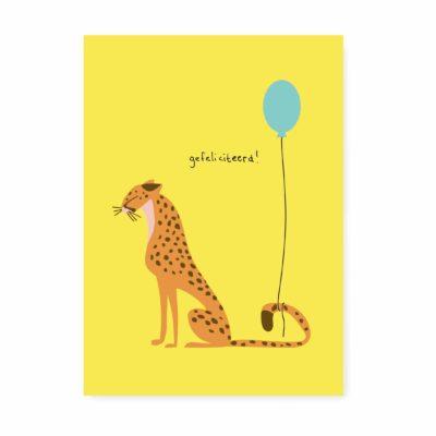 verjaardagskaart cheetah gefeliciteerd felicitatie ansichtkaart kaart