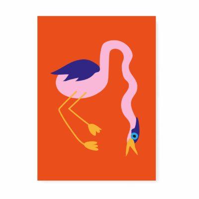 kaartje vogel kraanvogel ansichtkaart spek & bonen