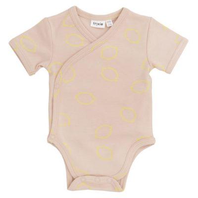 trixie baby cross-over body romper lemon squash 50/56