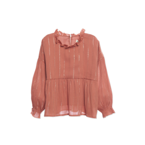 wander & wonder blouse tan lurex ruffle blouse