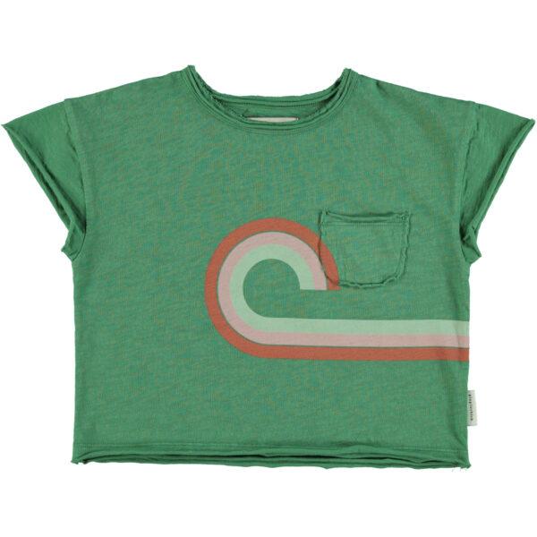 puipiuchick t-shirt groen met regenboog print