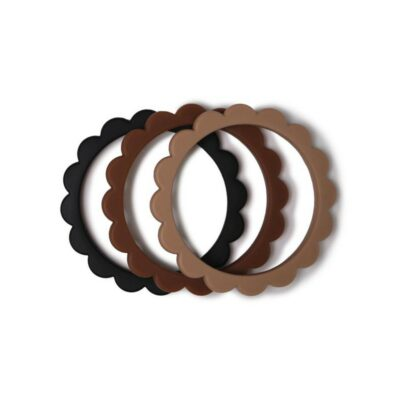 mushie siliconen bijtringen / armband set van 3 black/natural/caramel