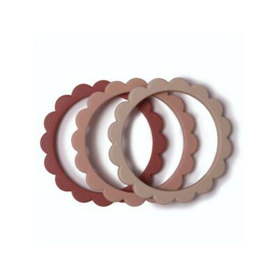 mushie siliconen bijtringen / armband set van 3 blush/rose/shifting sand.