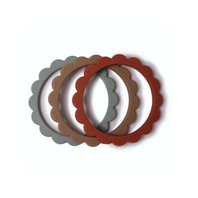 mushie siliconen bijtringen / armband set van 3 Cambridge blue/Clementine/Nat.