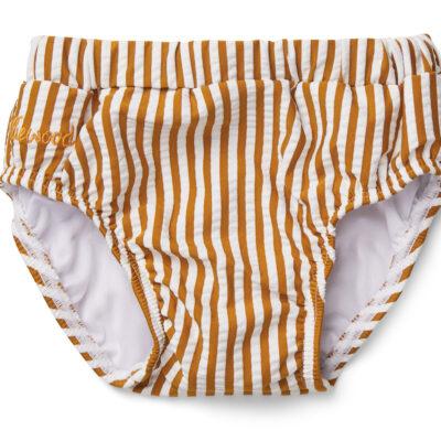 liewood Frej baby zwembroek seersucker stripe mustard/white