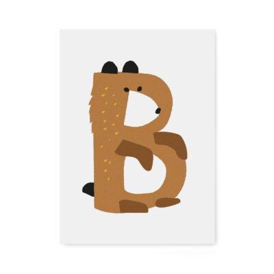 letterkaart abc letter B
