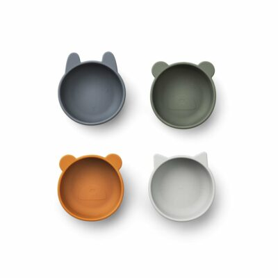 Liewood Iggy silicone bowls - 4 pack blue mix