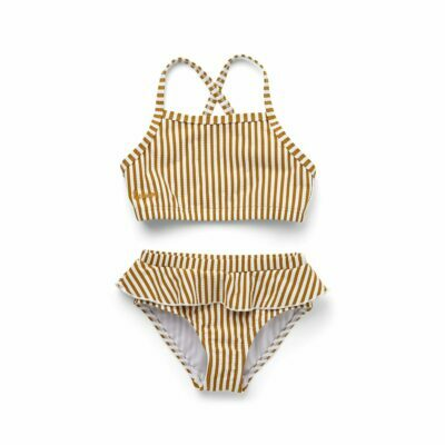 liewood seersucker bikini mustard stripes sandy white